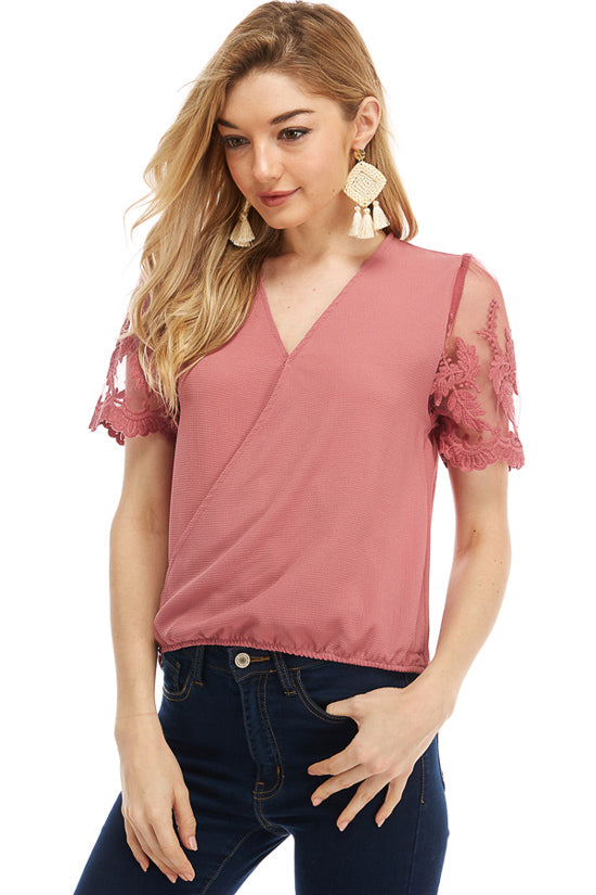 MILEY AND MOLLY MILEY+MOLLY  Short Sleeve SURPLUS W/LACE TOP