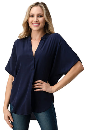 Dolman Sleeve Silk Solid Blouse Top