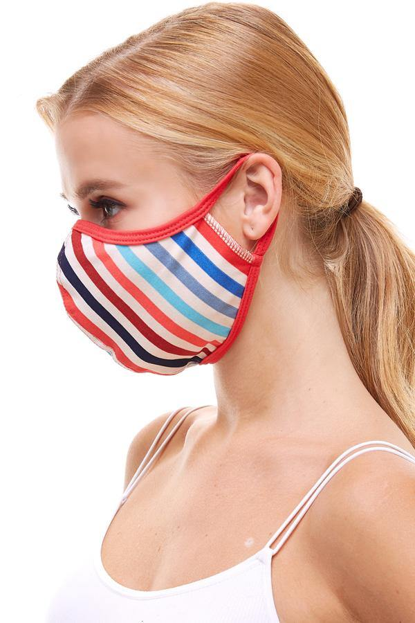 Multi stripe fashion reusable fabric face masks