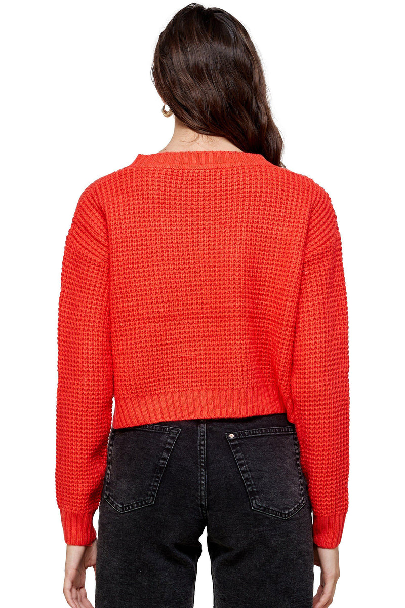 Waffle Knitted Cropped Sweater Top