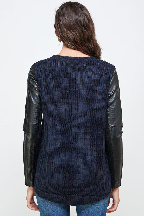 Vegan Leather Sweater High Low Top