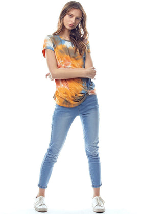 Tie Dye Jersey Top with Crew Neck Twist Hem