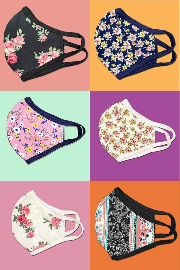 Floral flower fashion washable reusable breathable fabric ear loop shield face masks