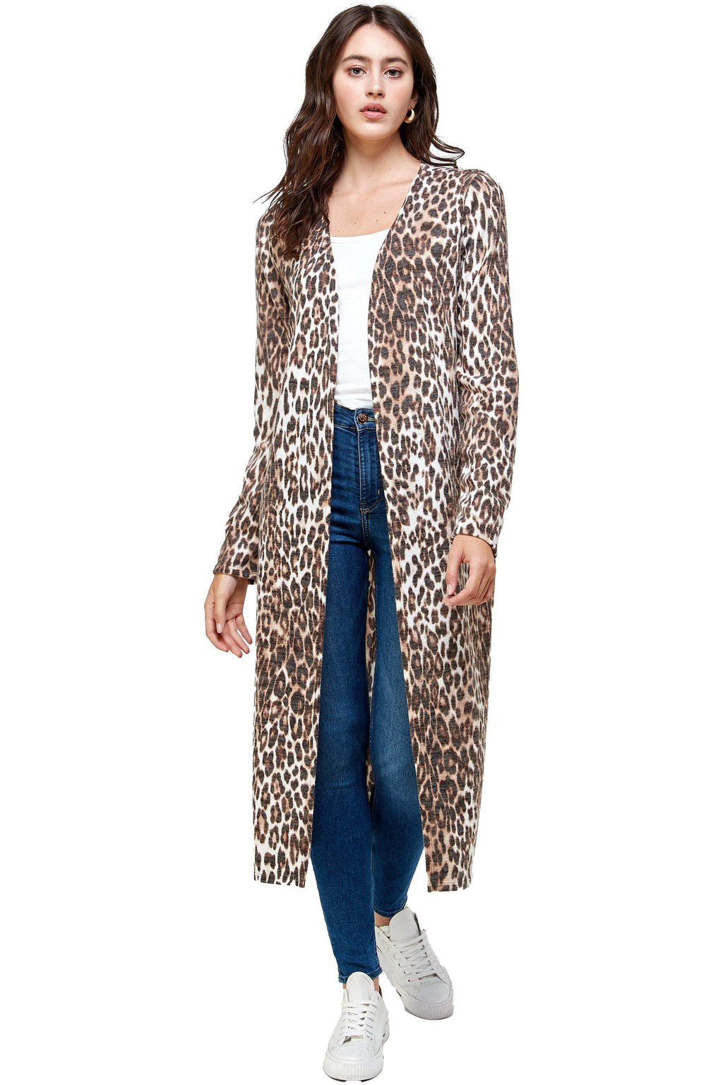 BRUSHED HACI LEOPARD PRINTED LONG DUSTER