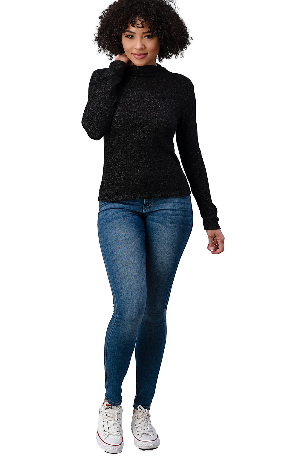 BRUSHED KNIT SOLID MOCK NECK LONG SLEEVE TOP