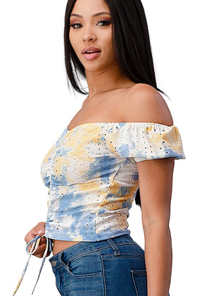 Knit Eyelet Tie Dye Ruched Cap Sleeve Fashion Top