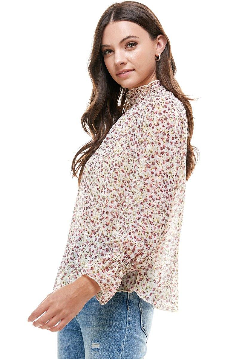 Ditsy Floral Smock Neck and Smock Cuffs Blouse