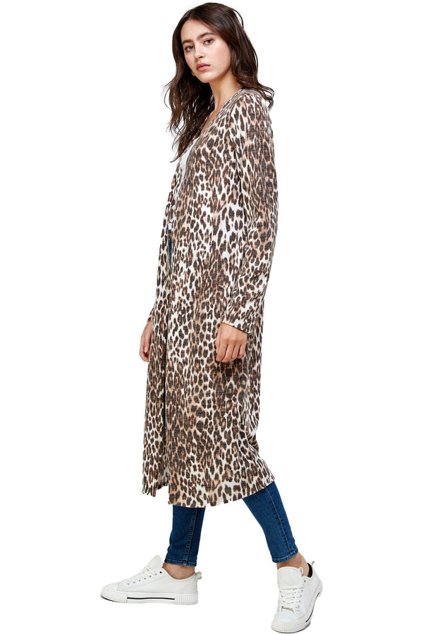 Brushed Haci Leopard Printed Duster