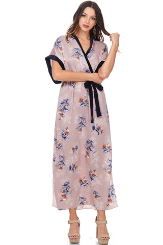 FLORAL SURPLICE TOP LONG SLEEVE A LINE DRESS