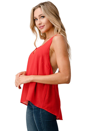 V NECK Hi Low Cami Top with Chiffon