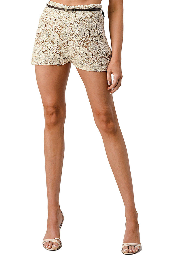 Fully Lined Belted Shorts In Crochet Lace