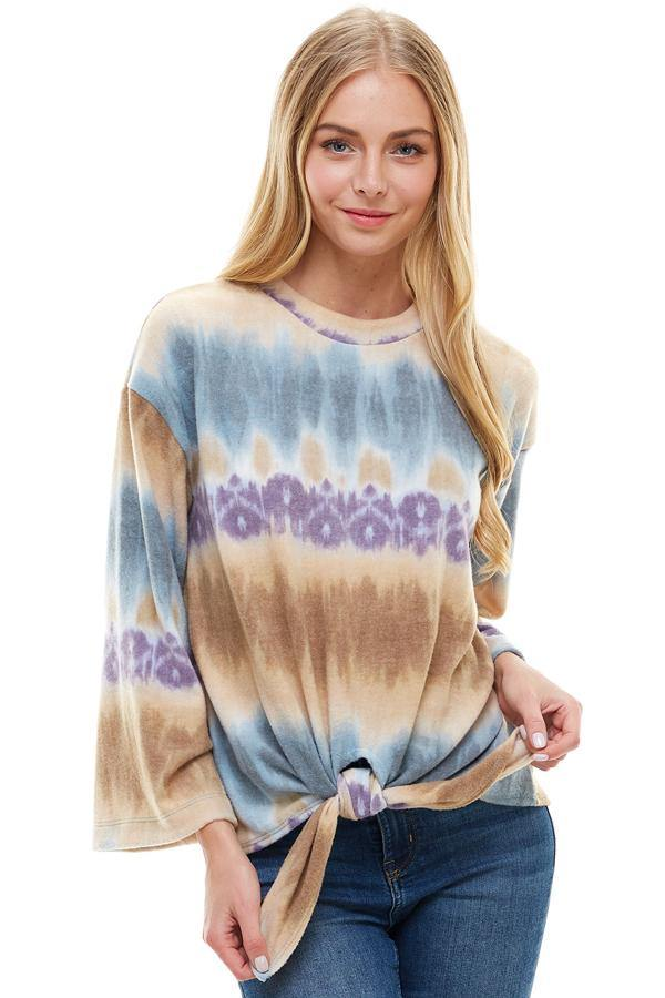 MILEY AND MOLLY MILEY + MOLLY  COZY KNIT TIE DYE EFFECT TIE FRONT TOP