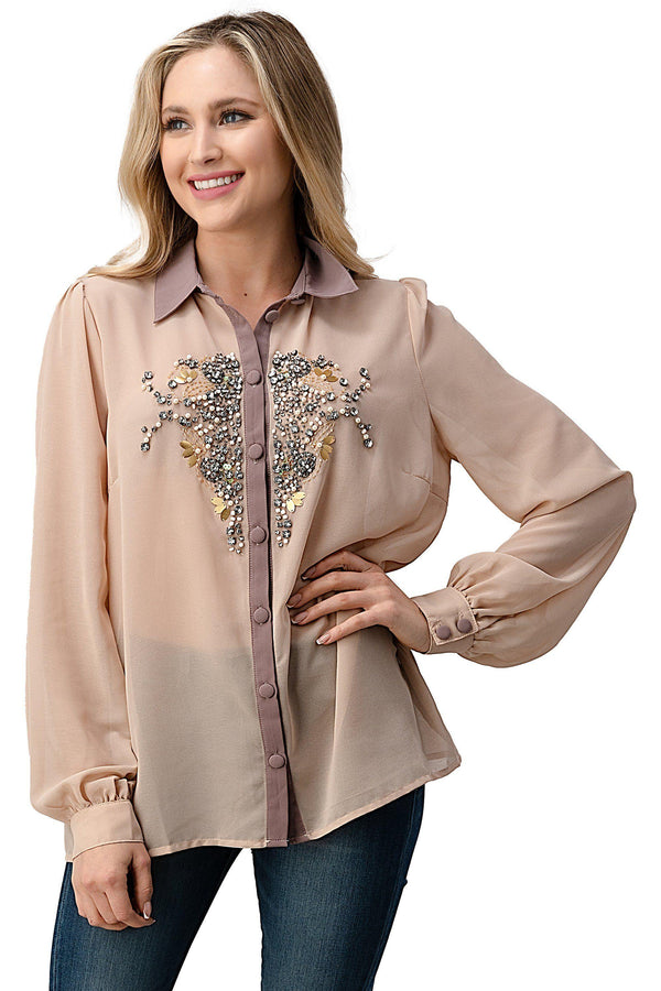 Beaded Jewel Long Sleeve Collar Shirt Top