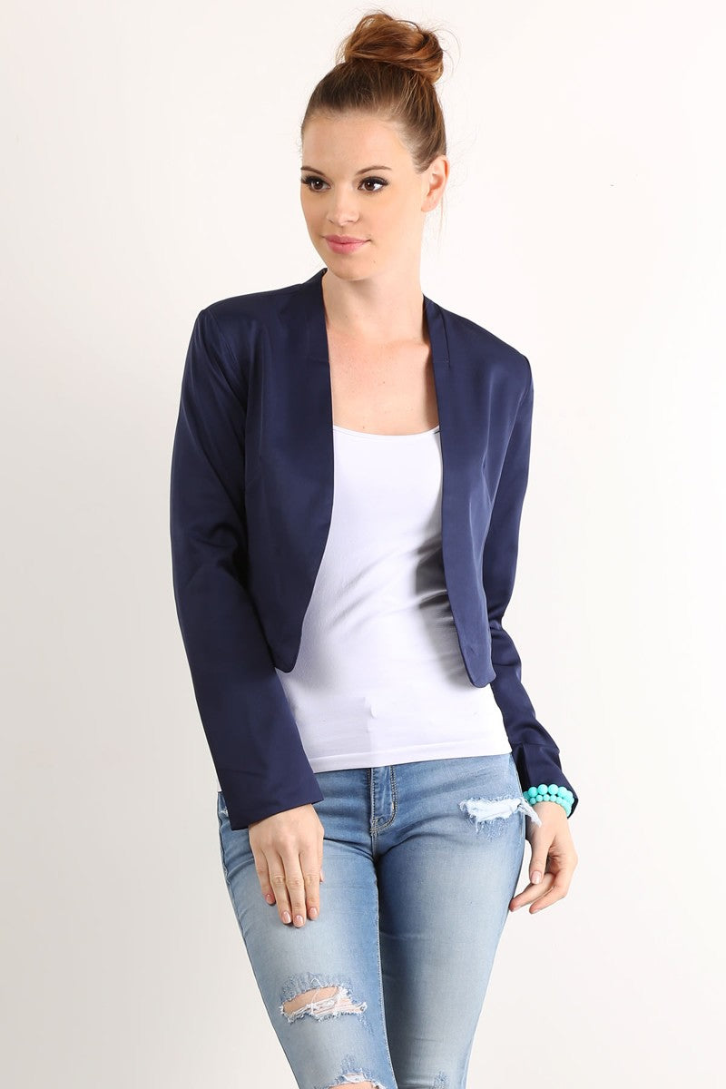 MILEY AND MOLLY SOLID CROP BLAZER