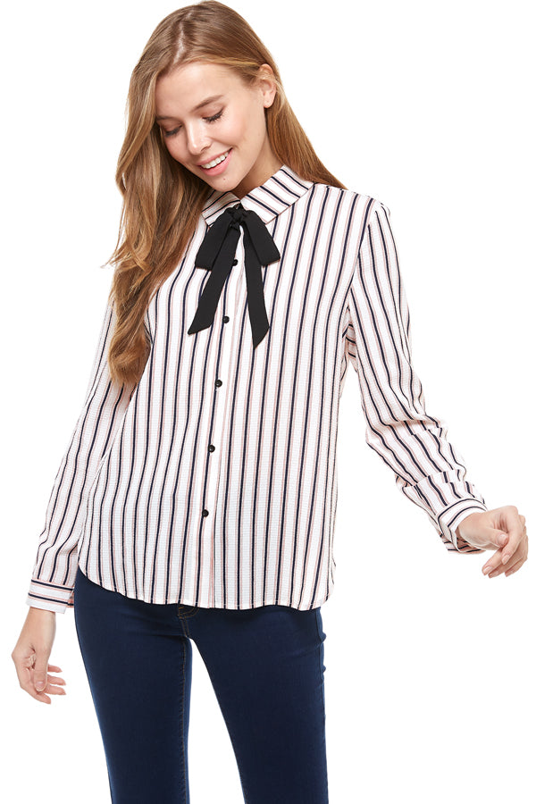 Stripe Tie Neck Button Down Blouse