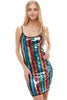 Multi Sequins Stripe Tank Mini Dress