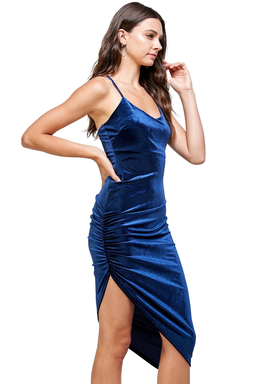 Velvet Spaghetti Strap V-Neck Midi dress