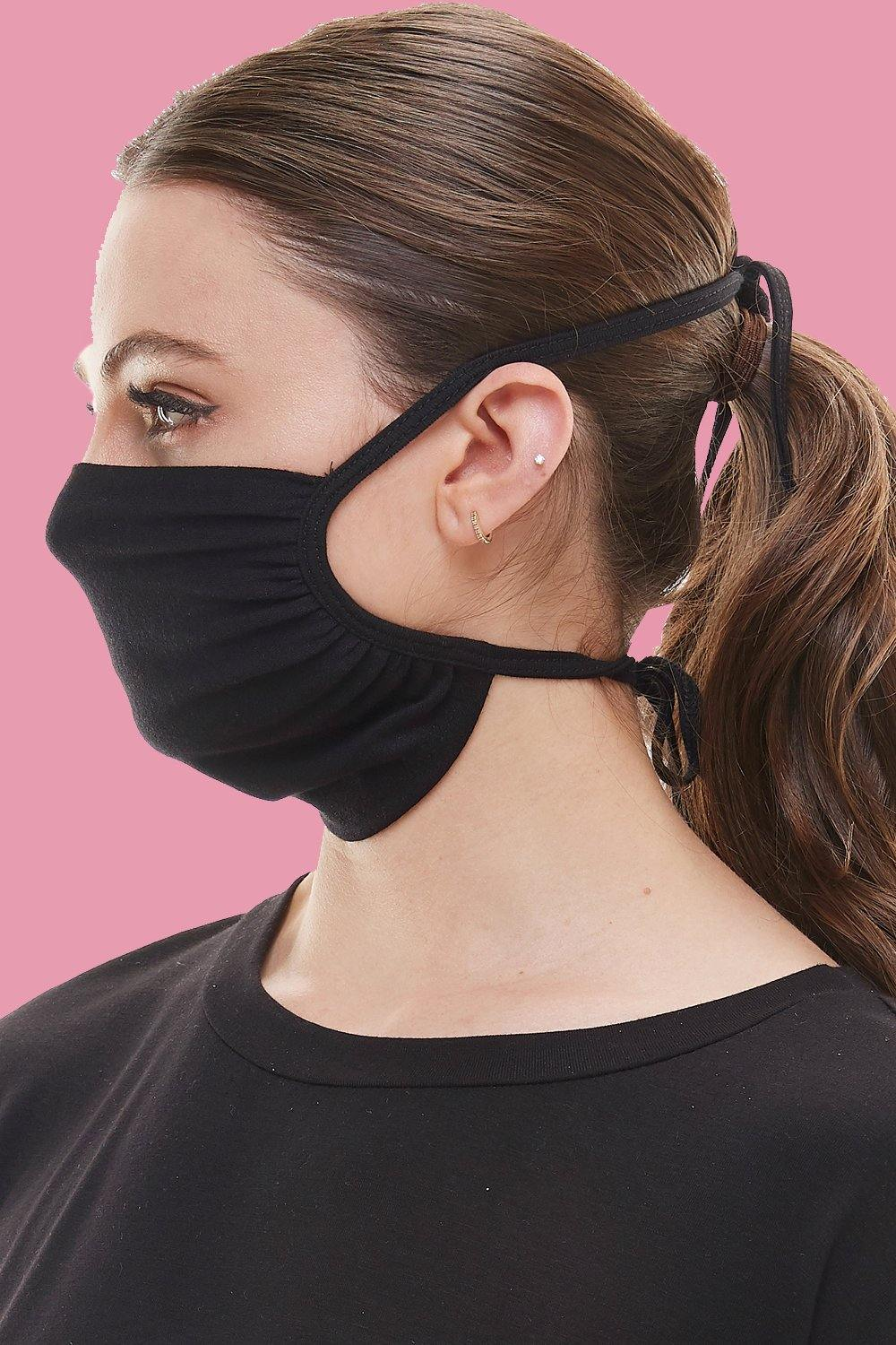 Cloth tie face covering washable reusable fabric face mask