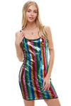MILEY AND MOLLY Multi Sequins Stripe Tank Mini Dress