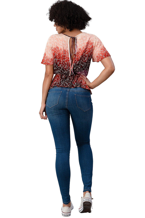 RAYON GAUZE FLORAL DIP DYED PRINTED FLUTTER SHORT SLEEVE PEPLUM BLOUSE - MILEY + MOLLY