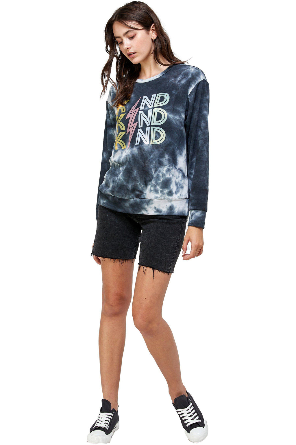 FRENCH TERRY TIE DYE SCREEN PRINTED SWEATSHIRTS