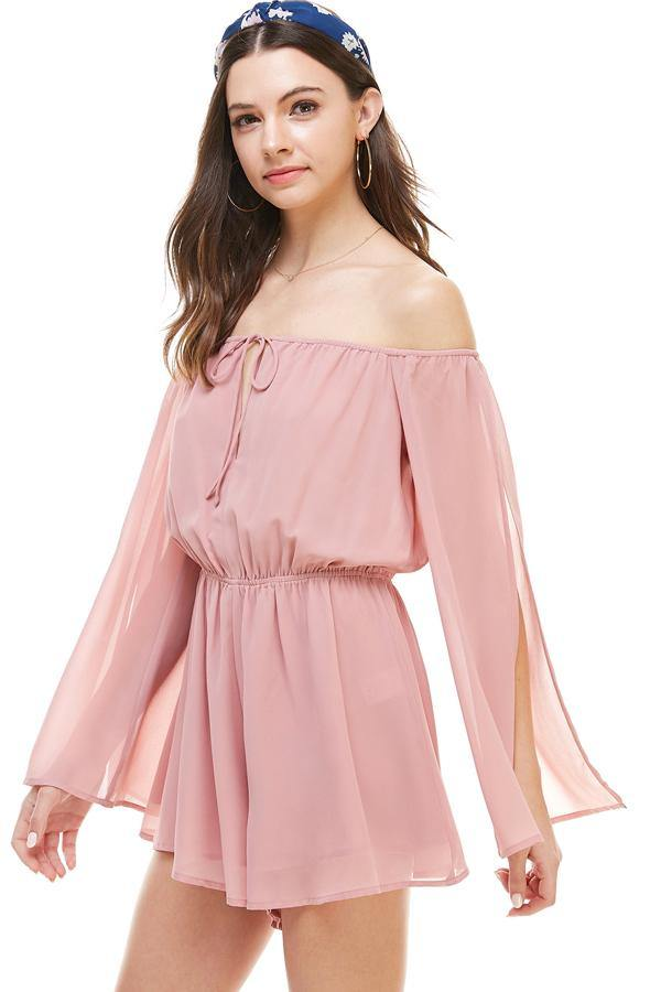 Solid Cold Shoulder Long Sleeve Romper