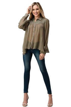 Mesh Blouse Shirt Top with Beaded Jewel Trim