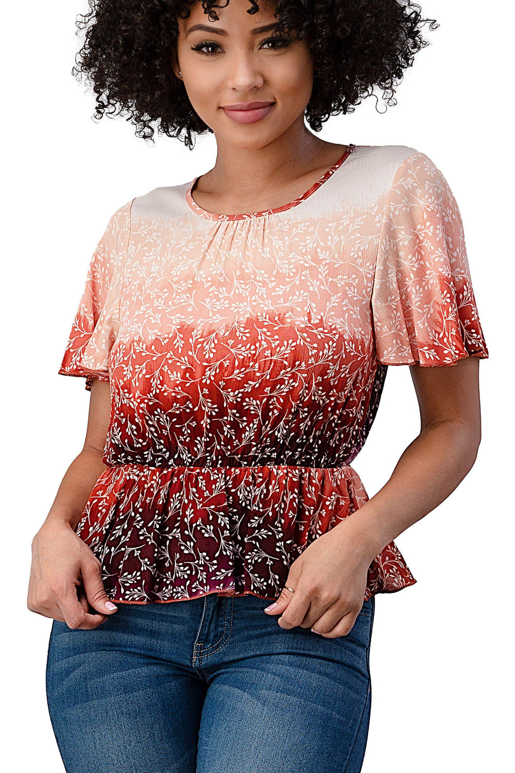 RAYON GAUZE FLORAL DIP DYED PRINTED FLUTTER SHORT SLEEVE PEPLUM BLOUSE