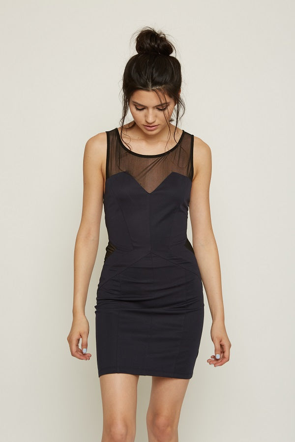 MESH CUTOUT BODYCON DRESS