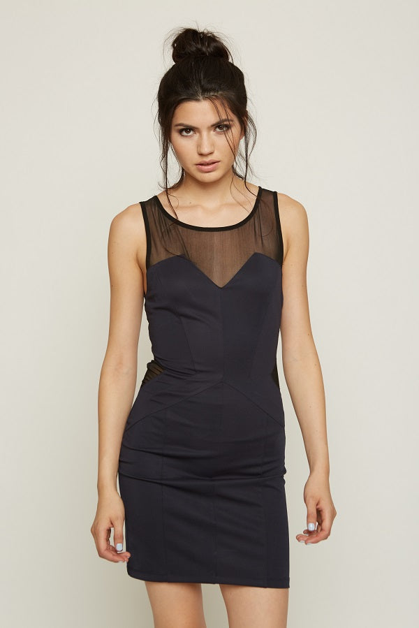 MILEY AND MOLLY MILEY+MOLLY MESH CUTOUT BODYCON DRESS