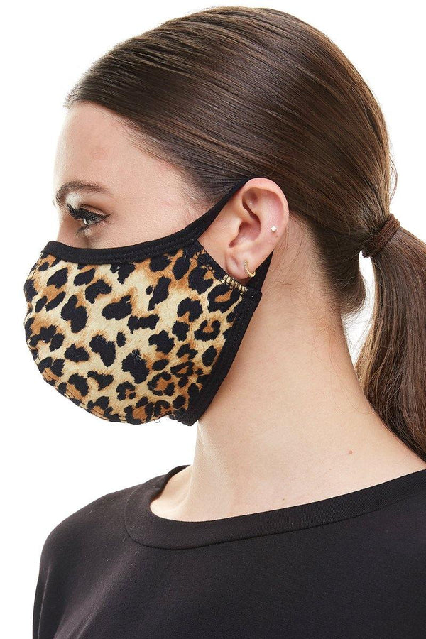 Leopard animal fashion washable reusable breathable fabric ear loop fabric face masks