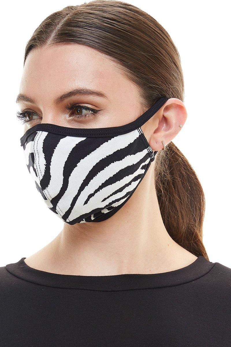 Zebra print fashion washable reusable breathable fabric ear loop fabric face masks