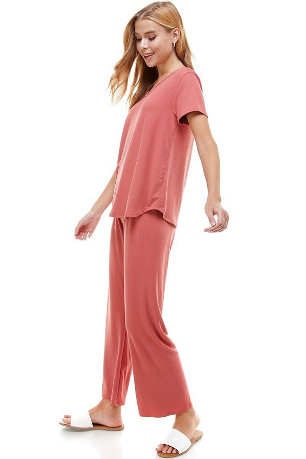WOMEN'S LOUNGEWEAR SET BLACK & MAUVE SOLID COLOR SHORT SLEEVE SET