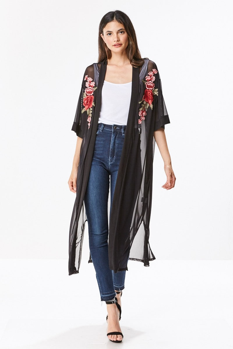 MILEY AND MOLLY MILEY+MOLLY  Mesh Floral Patch Kimono