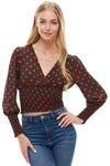 Large Floral Print V Neck Long Sleeve Peplum Botton Blouse