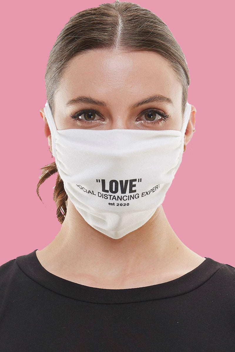 """P.L.U.R."" Peace Love Unity Respect cloth tie face covering washable reusable fabric mask"