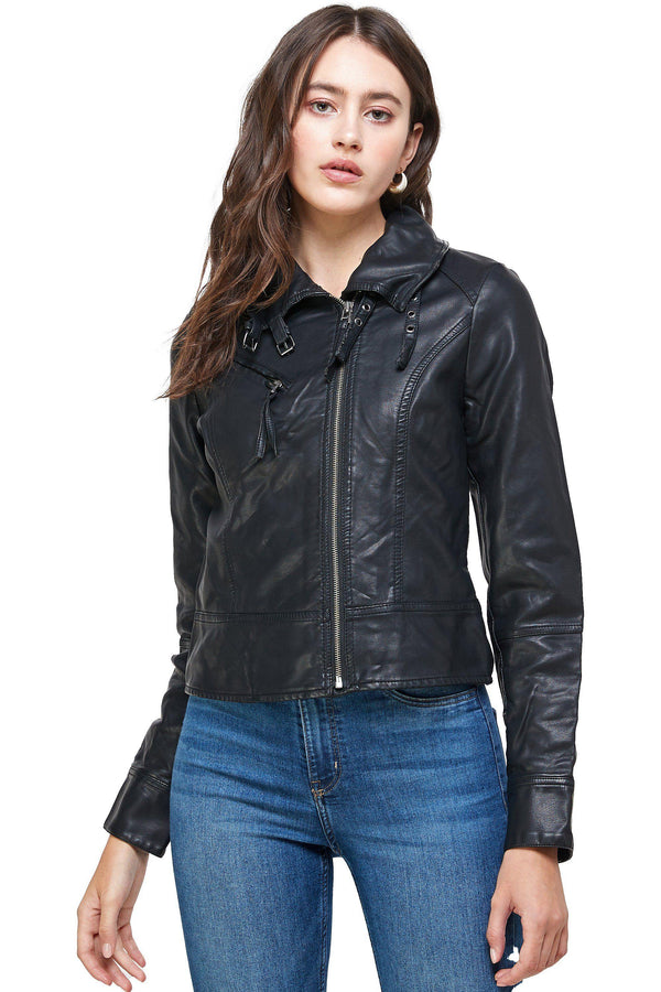 Double Buckle High Neck Vegan Leather Biker Jacket