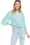 MULTI STRIPE OFF SHOULDER LONG SLEEVE TOP