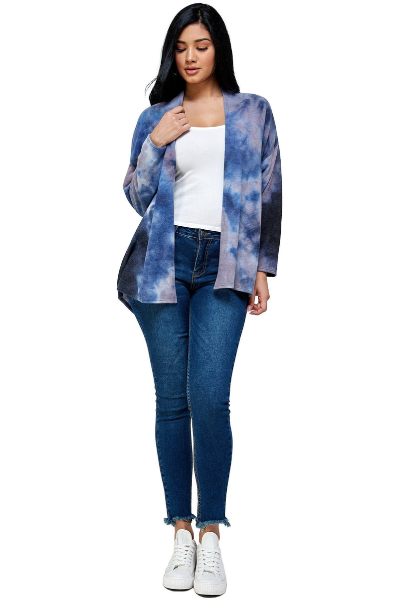 BRUSHED KNIT TIE DYE OVER SIZE CARDIGAN