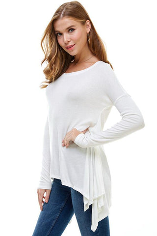 Off Shoulder Ruffle Detail Long Sleeve Blouse