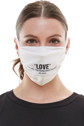 White adjustable tie, washable and reusable cotton fabric face mask, featuring