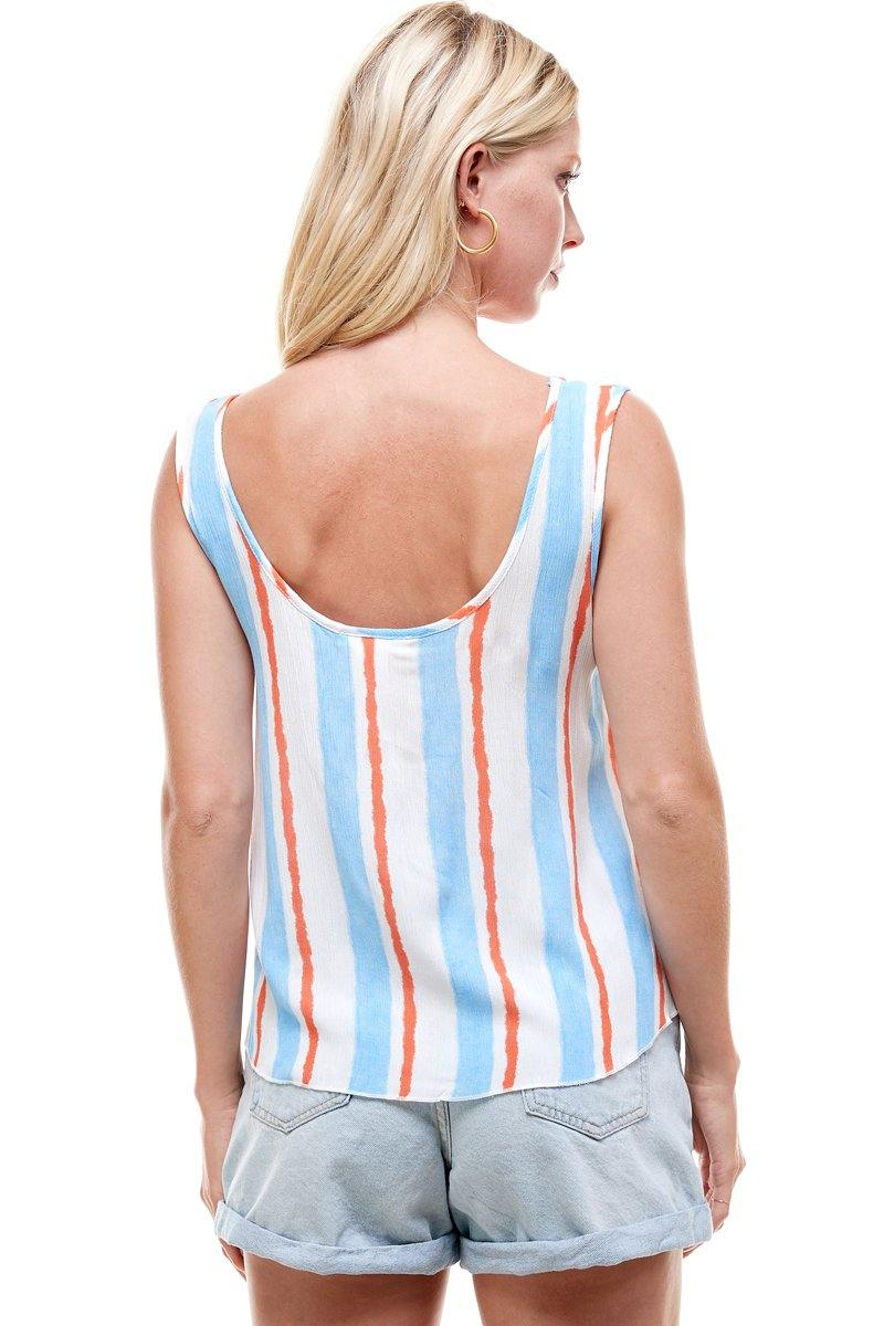 Multi Stripe Tie Shoulder Button Swing Top