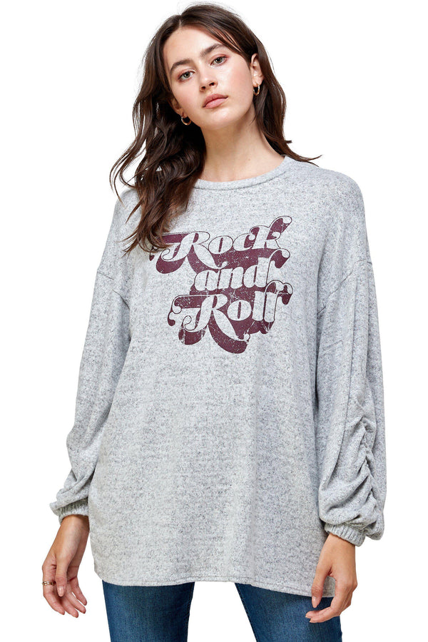 BRUSHED KNIT SCREEN PRINT LOOSE FIT SWAEAT SHIRTS - MILEY + MOLLY