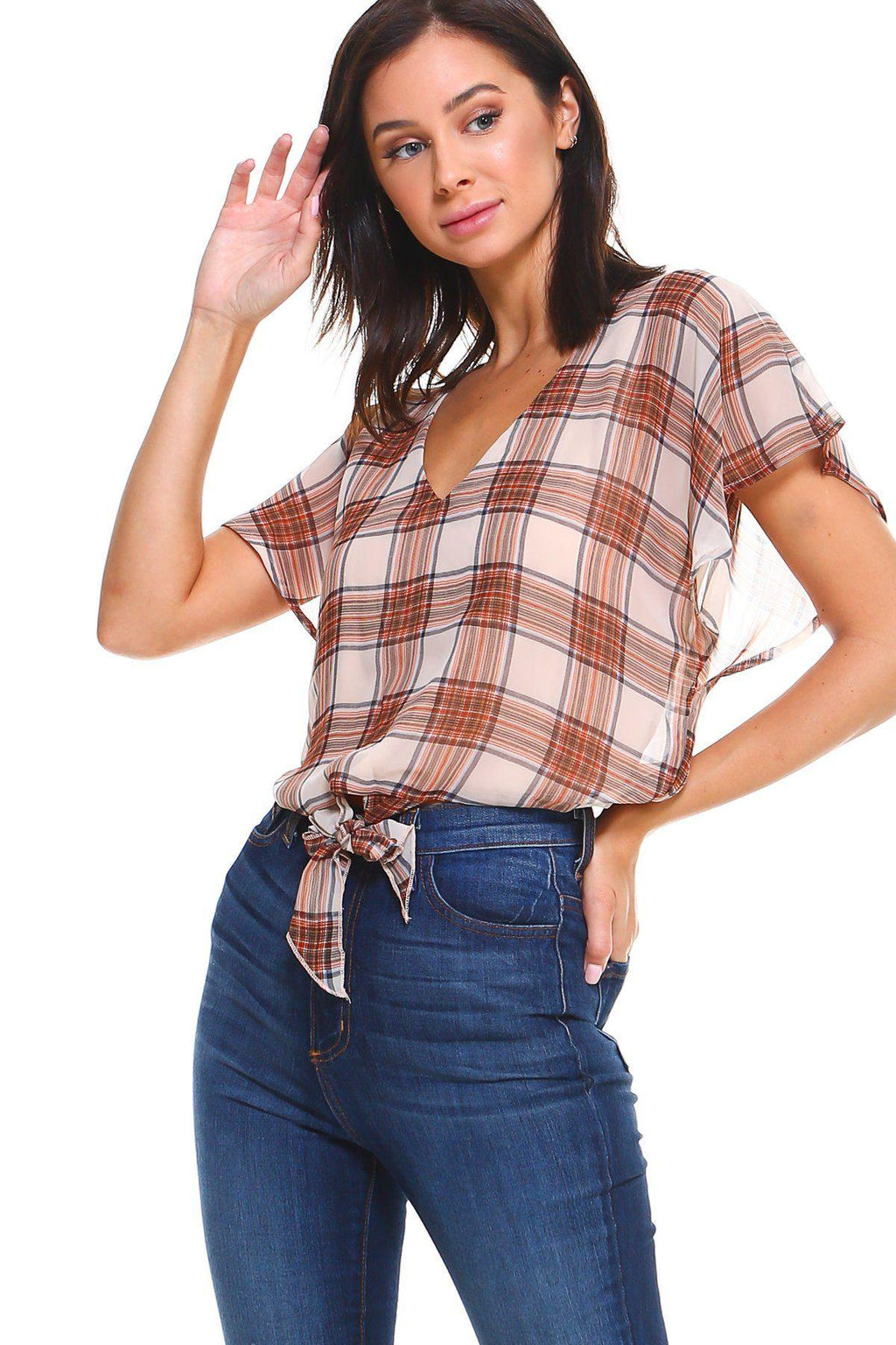 Plaid Tie Back Blouse top