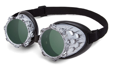 Cybersteam Silver and Green Goggles
