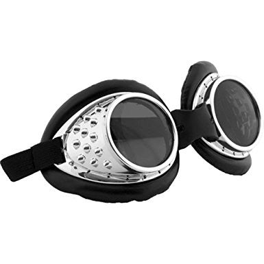 Radioactive Silver and Black Aviator Goggles
