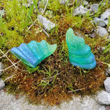 CUSTOM COLOR : Aradani Resin Glue-on Horns - Green with Metallic Blue