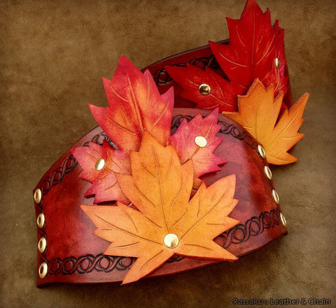 Leather Seasonal Leaves Cuffs