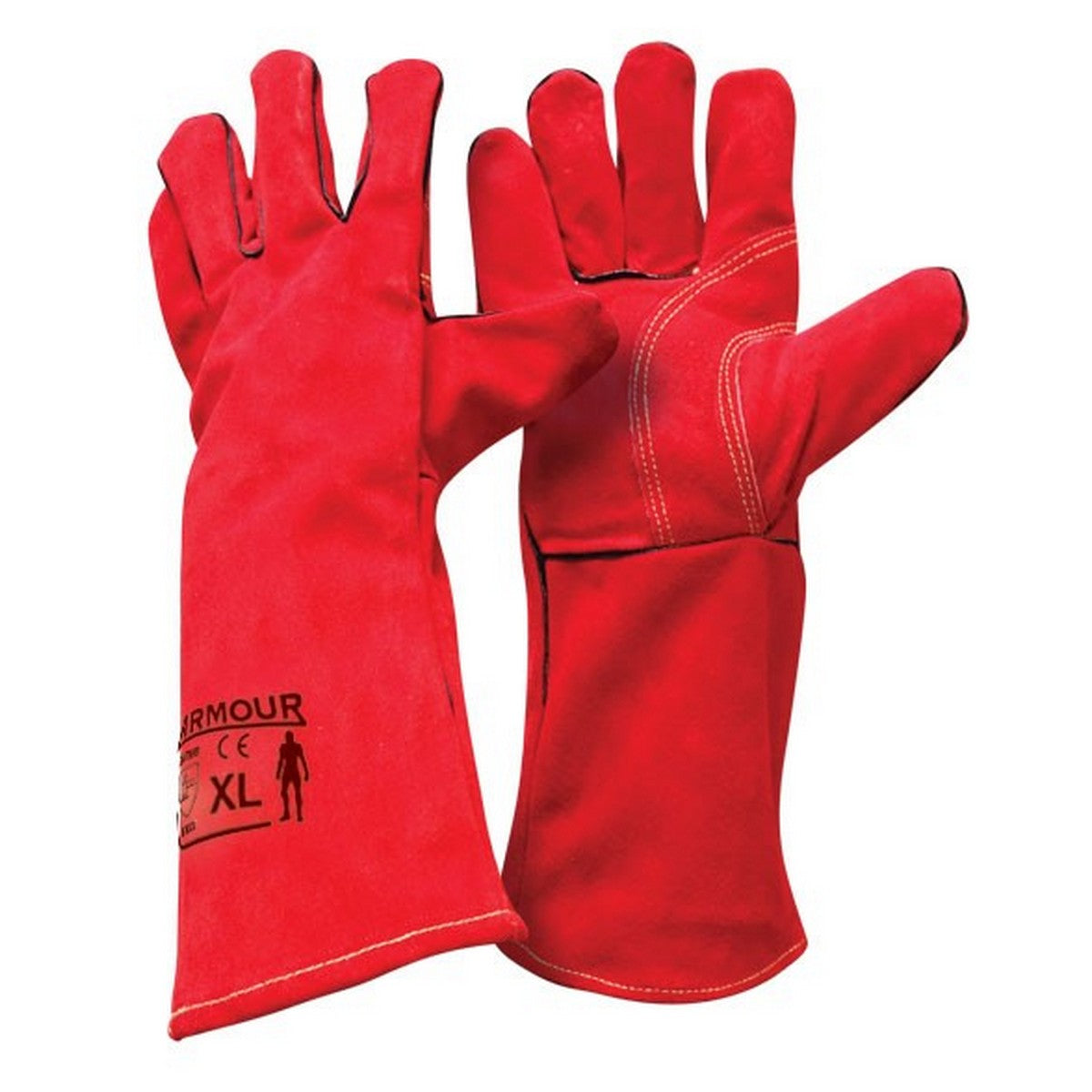 Image of Armour Red Welding Gauntlet Glove - 40cm