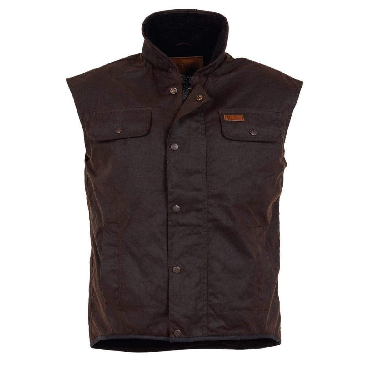 Image of Outback Oilskin Vest Fleece Linded